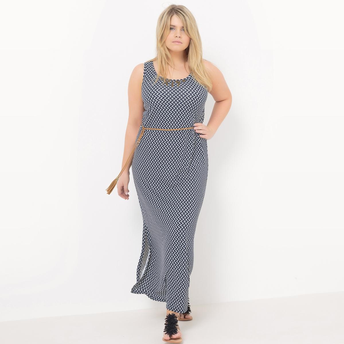 Платье длинноеДлинное платье без рукавов Mellem. Застежка по бокам внизу платья, завязки сзади, съемный пояс-веревка. Закругленный вырез с украшениями в этническом стиле. Летнее платье из крепа с плетеным орнаментом. 95% полиэстера, 5% эластана<br><br>Цвет: индиго
