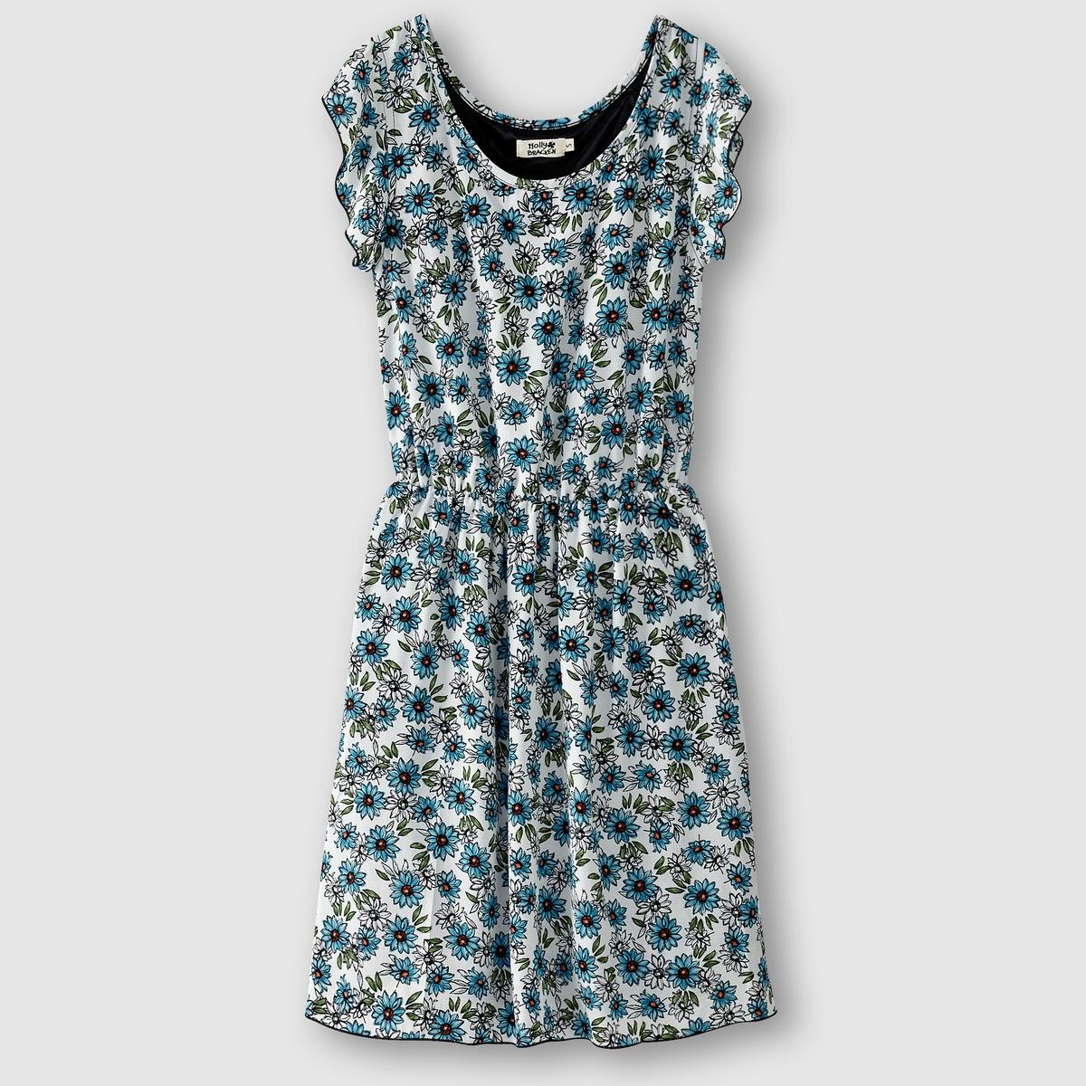 Платье с короткими рукавамиПлатье - MOLLY BRACKEN. Короткие рукава. Эластичный пояс. Вуаль с принтом . Состав и описание      Материал: 100% полиэстера     Марка MOLLY BRACKEN<br><br>Цвет: темно-синий/оранжевый<br>Размер: S