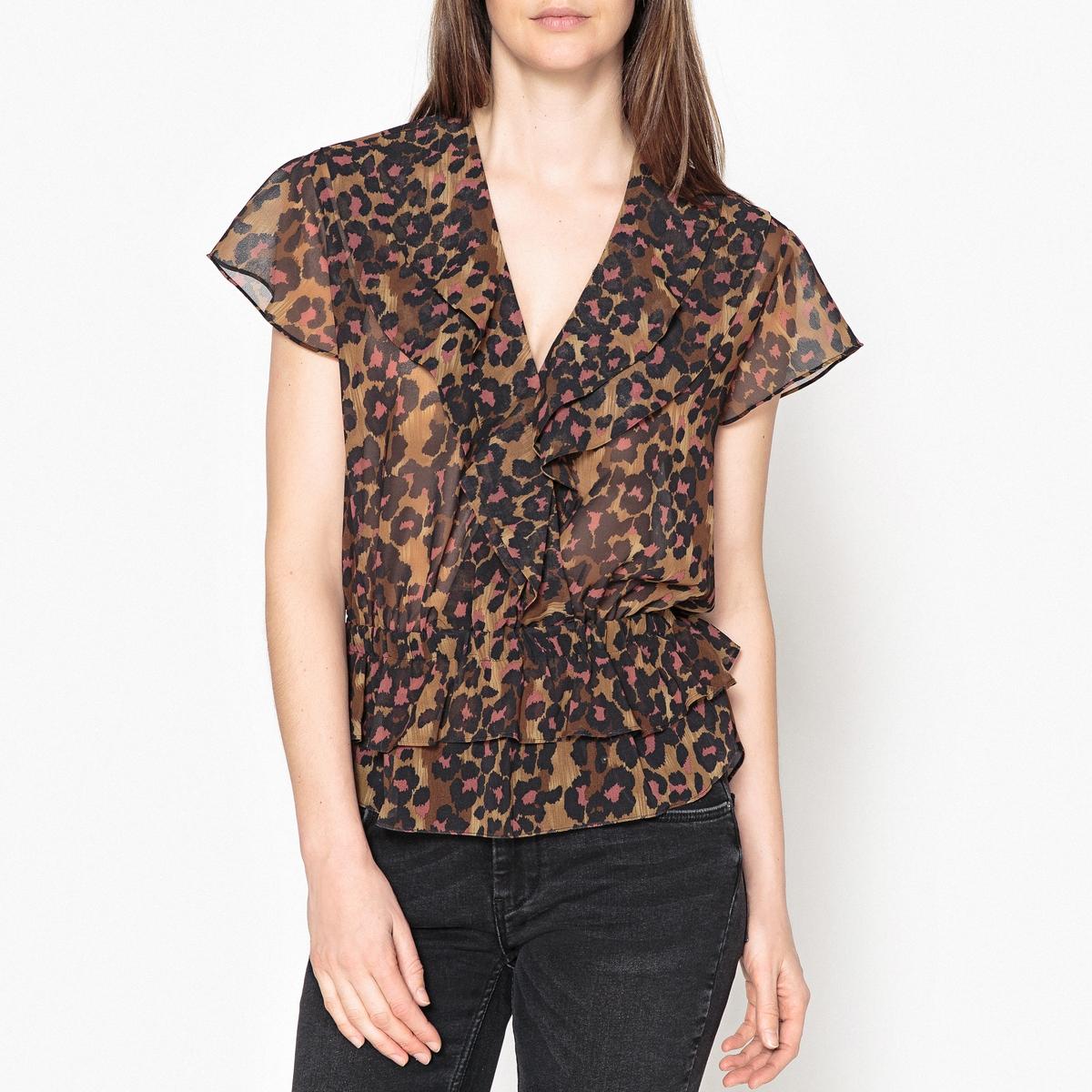 Блузка тонкая с рисунком, V-образным вырезом и короткими рукавами