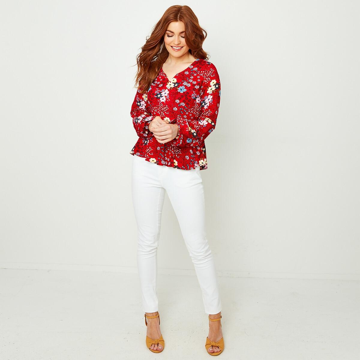 Блузка LaRedoute С цветочным принтом и V-образным вырезом 38 (FR) - 44 (RUS) красный блузка la redoute с рукавми и v образным вырезом 36 fr 42 rus синий