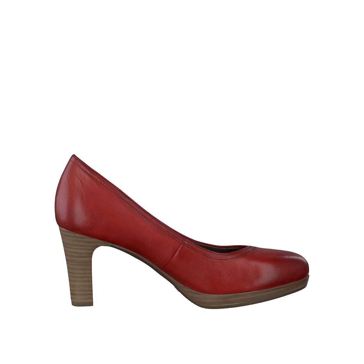 Туфли кожаные 22410-28Верх: кожа.   Подкладка: текстиль и синтетика.Стелька: синтетика.Подошва: синтетика.Высота каблука: 7 см.Форма каблука: тонкий каблук.    Мысок: закругленный.Застежка: без застежки.<br><br>Цвет: красный,синий деним,черный<br>Размер: 38.39.40.40