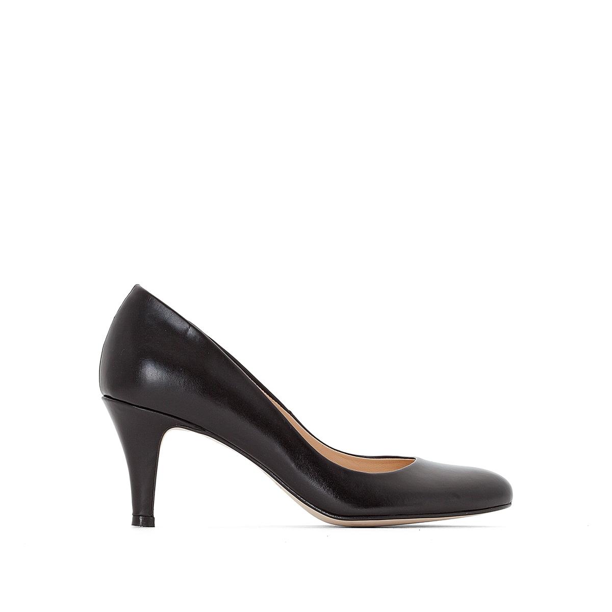 Туфли кожаныеВерх : кожа   Подкладка : кожа   Стелька : кожа   Подошва : эластомер   Высота каблука : 5 см   Форма каблука : тонкий каблук   Мысок : закругленный мысок   Застежка : без застежки<br><br>Цвет: черный<br>Размер: 41