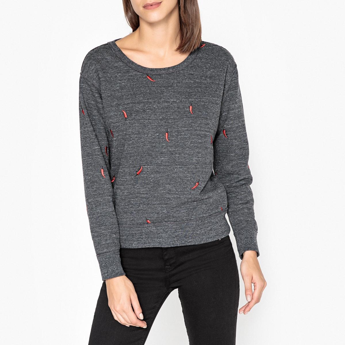 Свитшот La Redoute С круглым вырезом с вышивкой перчики XS серый свитшот la redoute с круглым вырезом и вышивкой s черный