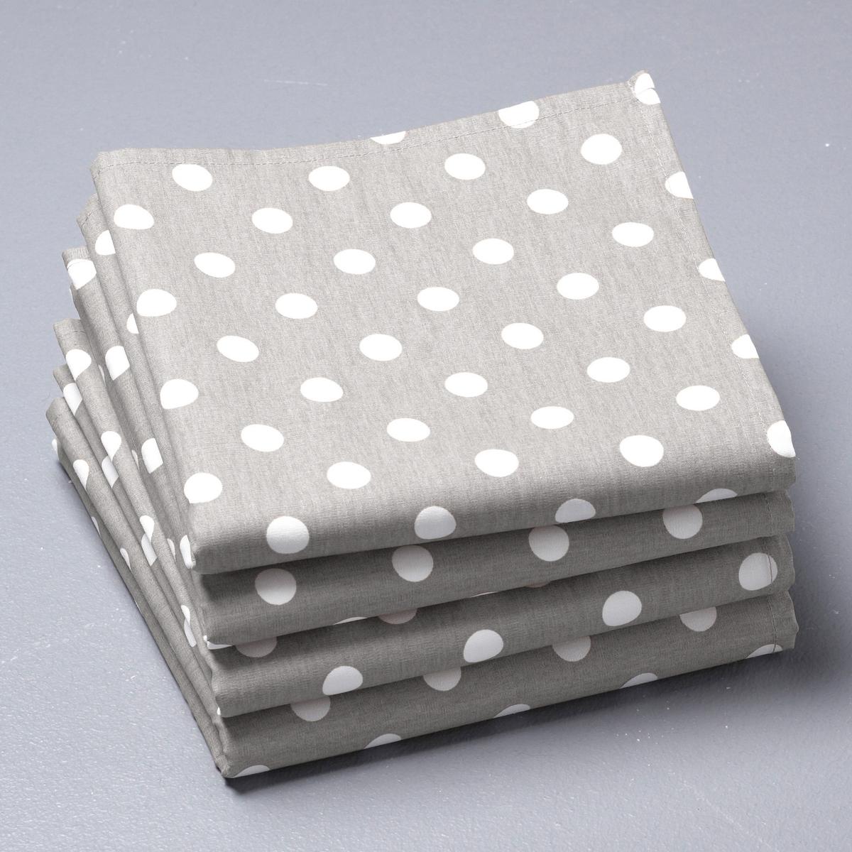 4 салфетки для приборовСалфетки в горошек GARDEN-PARTY. 100% хлопка. Размер 45 х 45 см. Стирка при 40°. В комплекте 4 салфетки. Превосходная стойкость цвета.<br><br>Цвет: серый/ белый<br>Размер: 45 x 45  см
