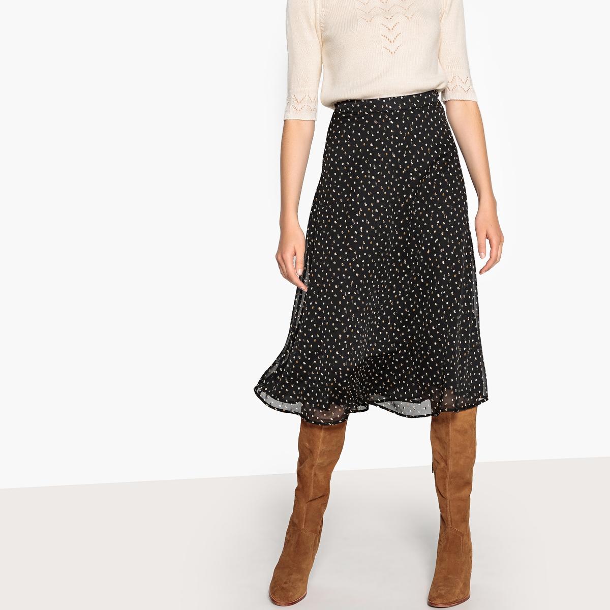 Falda larga vaporosa estampada