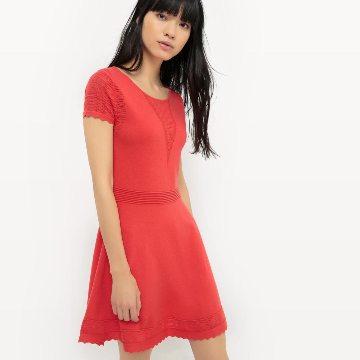 Платье короткое, с короткими рукавами, однотонноеОписание:Детали  •  Форма : расклешенная   •  короткое  •  Короткие рукава    • Круглый вырез Состав и уход  •  100% хлопок• Просьба следовать советам по уходу, указанным на этикетке изделия<br><br>Цвет: красный<br>Размер: M