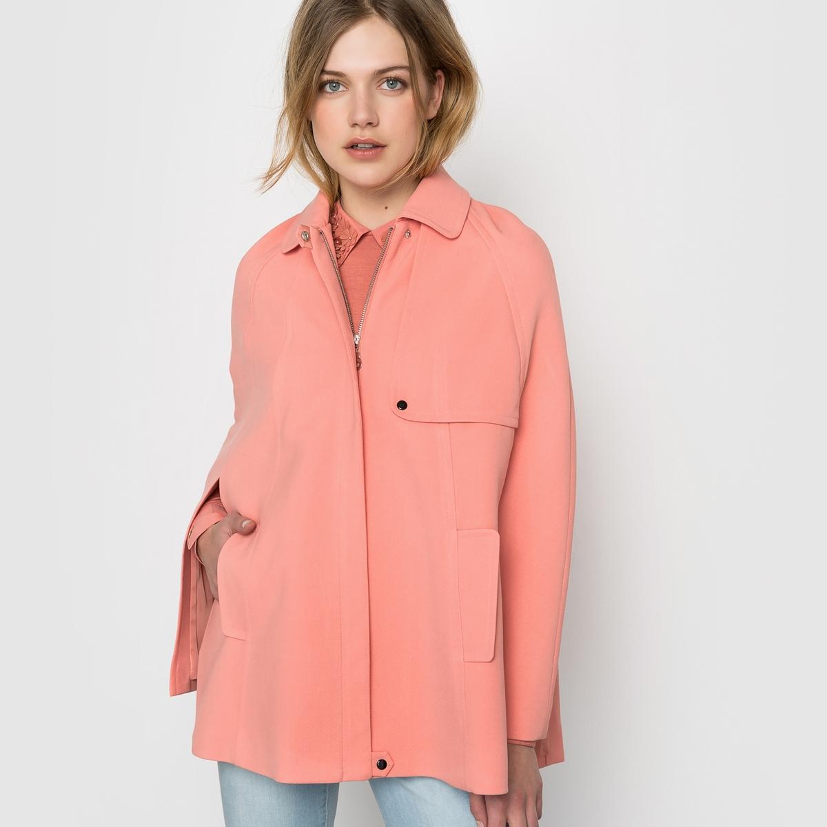 Пальто-накидкаСостав и деталиМатериал: 60% полиэстера, 36% вискозы, 4% эластанаПодкладка из 100% полиэстераДлина 75 смБренд: Mademoiselle R<br><br>Цвет: розовый<br>Размер: 40 (FR) - 46 (RUS)