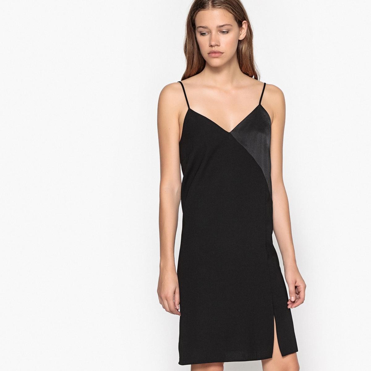 Платье-комбинация с разрезом и тонкими бретелями