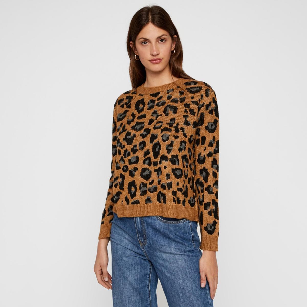 Пуловер La Redoute С круглым вырезом и леопардовым рисунком M бежевый свитшот la redoute с круглым вырезом и вышивкой s черный