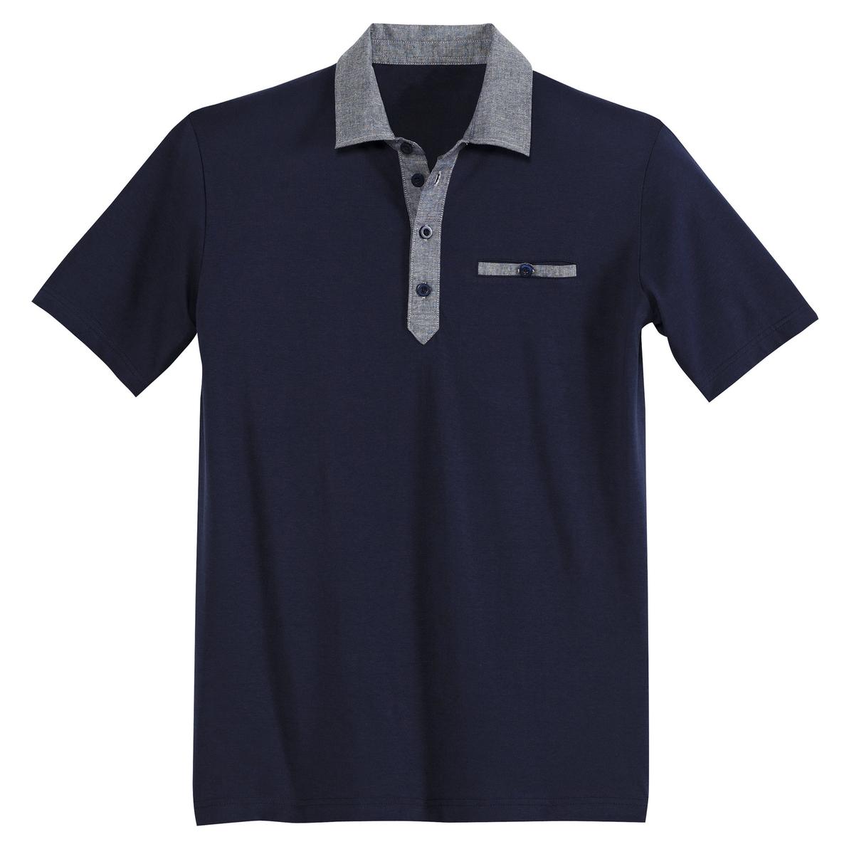 Футболка-поло с короткими рукавами из джерси с воротником из ткани шамбредлина спереди : 76 см для размера 50/52 и 86 см для размера 90/92.- длина рукавов : 23 см для размера 50/52 и 28 см для размера 90/92.<br><br>Цвет: темно-синий,черный<br>Размер: 70/72.78/80.82/84.90/92