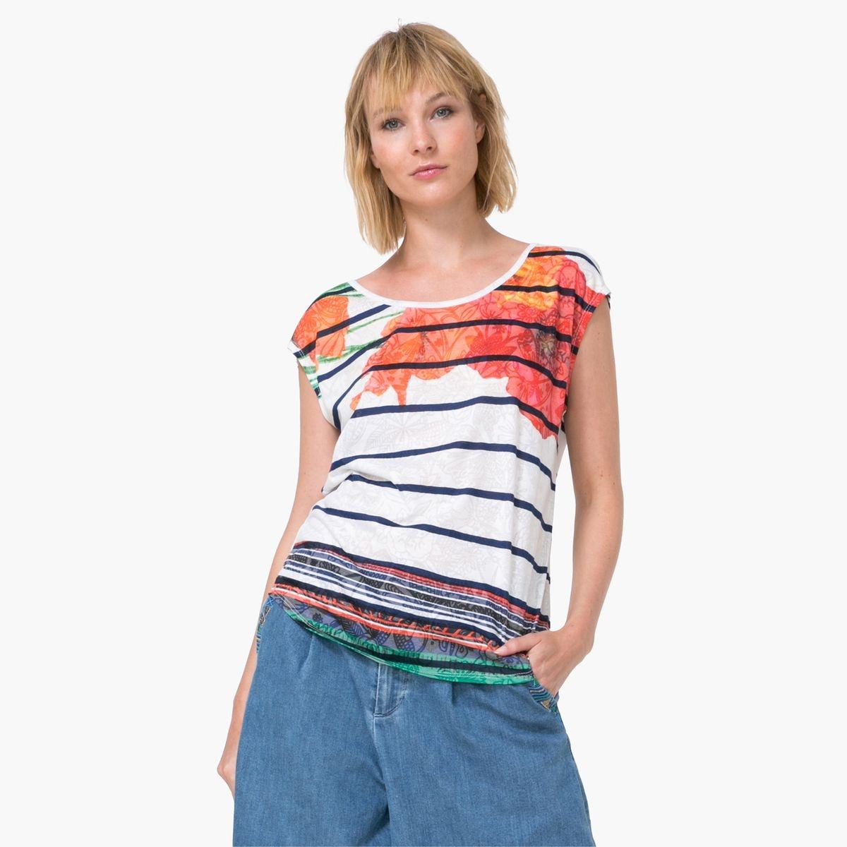 Soldes ! tee-shirt manches courtes imprimé rayé...