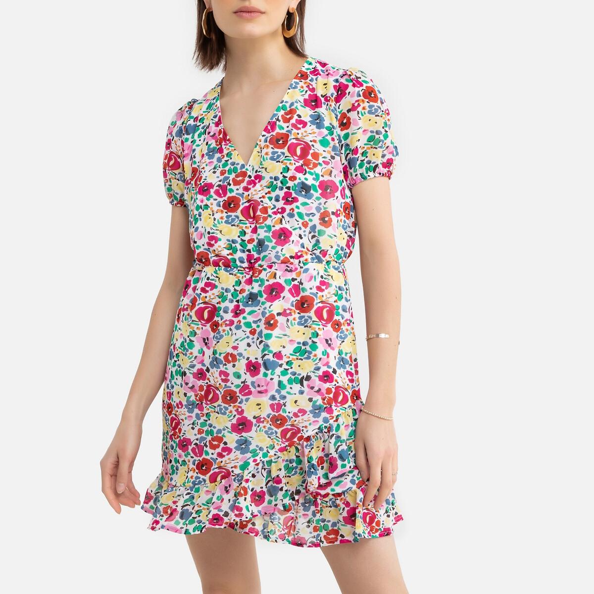 Фото - Платье LaRedoute Короткое с цветочным рисунком и V-образным вырезом 46 зеленый блузка laredoute с принтом и v образным вырезом длинные рукава xs зеленый