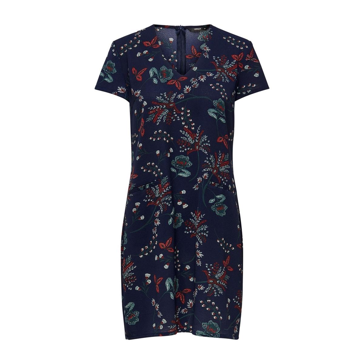 Платье La Redoute Прямое с цветочным рисунком и короткими рукавами 36 (FR) - 42 (RUS) синий платье прямое с цветочным рисунком и контрастной полосой сзади