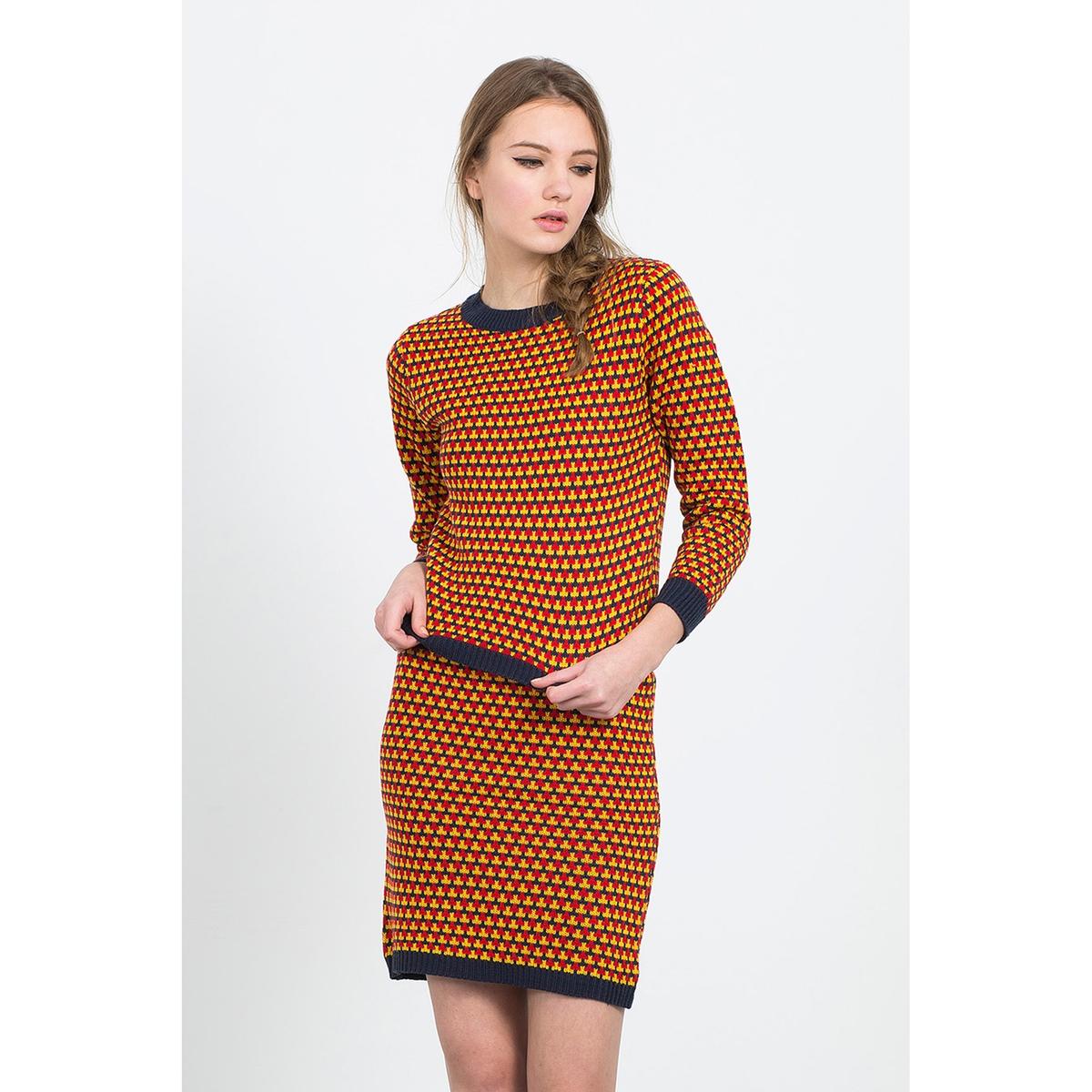 Комплект: пуловер и юбка, геометрический рисунок, PISA SETСостав и описание:Материал: 100% акрилаМарка: COMPANIA FANTASTICA.УходСтирать при 30° с вещами схожих цветовСтирать и гладить с изнаночной стороны<br><br>Цвет: разноцветный