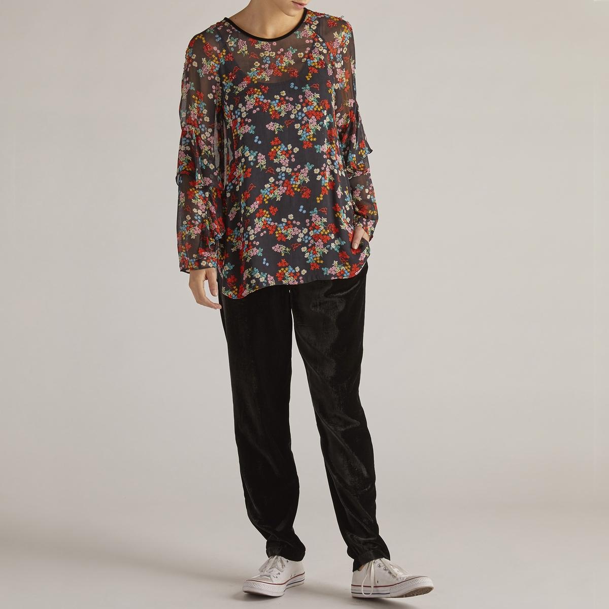 Блузка La Redoute С круглым вырезом цветочным рисунком и длинными рукавами M черный цена