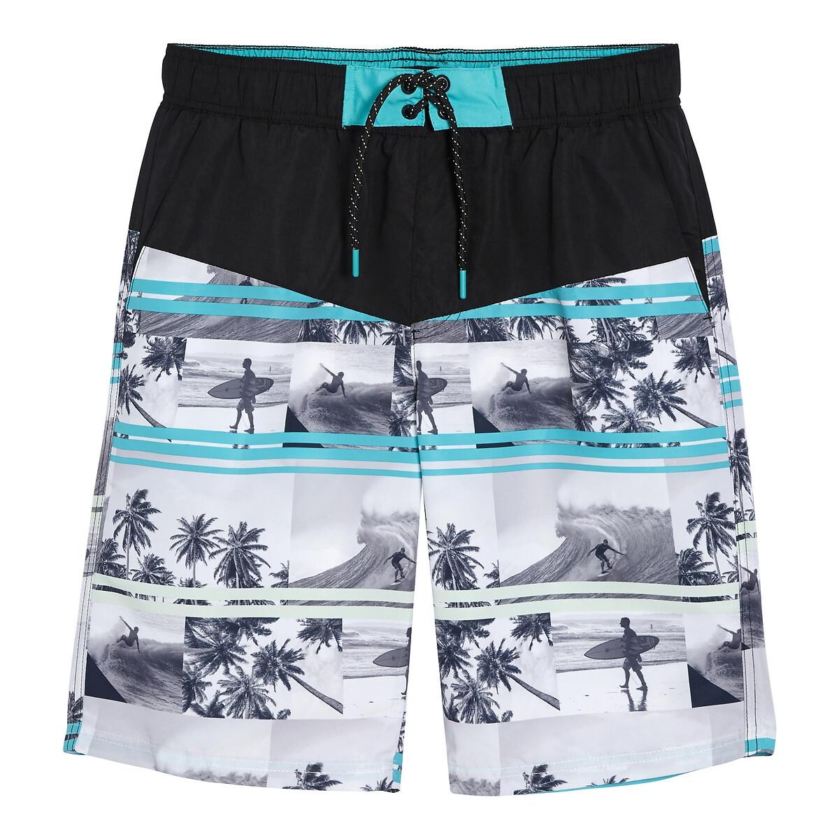 Шорты La Redoute Плавательные с принтом Гавайи 16 лет - 174 см другие шорты la redoute плавательные с принтом крабы 8 лет 126 см синий