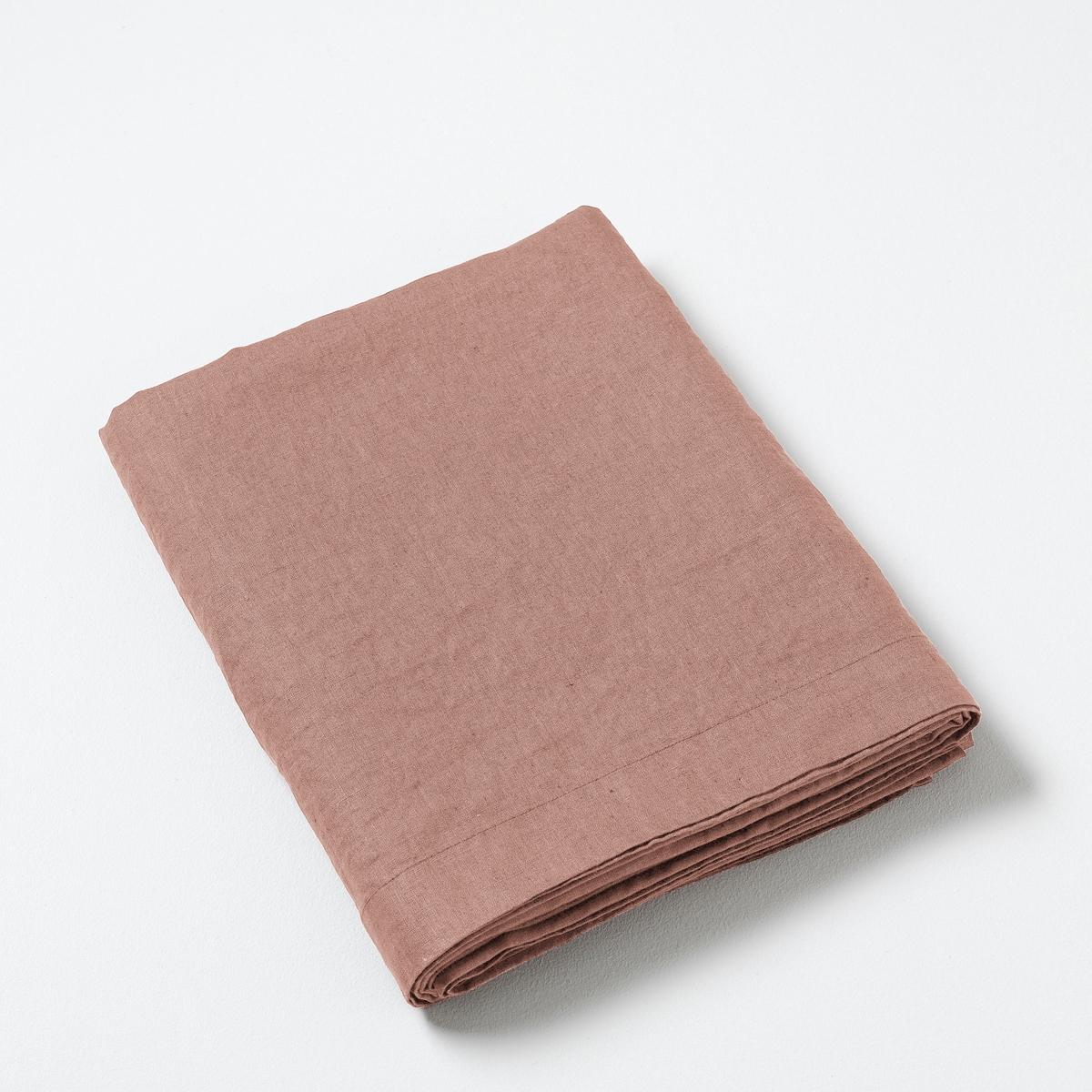 Фото - Простыня LaRedoute Из стираного льна Elina 270 x 310 см розовый простыня laredoute натяжная из стираного льна elina для толстых матрасов 160 x 200 см синий