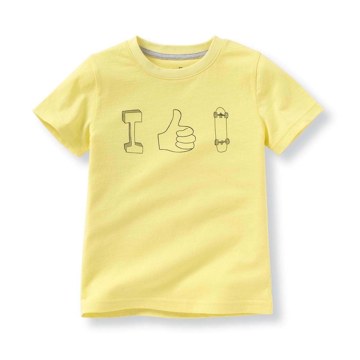 Комплект из 2 футболок с рисунком, 3-12 летВ комплекте 2 футболки с круглым вырезом. 1 с длинными рукавами + 1 с короткими рукавами и рисунком  Состав и описаниеМатериал       100% хлопок (кроме цвета серый меланж : преимущественно из хлопка).Марка       R ?ditionУход:Стирать и гладить с изнаночной стороныМашинная стирка при 30 °C с вещами схожих цветовМашинная сушка запрещенаГладить на низкой температуре<br><br>Цвет: серый меланж + желтый<br>Размер: 3 года - 94 см.12 лет -150 см.8 лет - 126 см.6 лет - 114 см.5 лет - 108 см