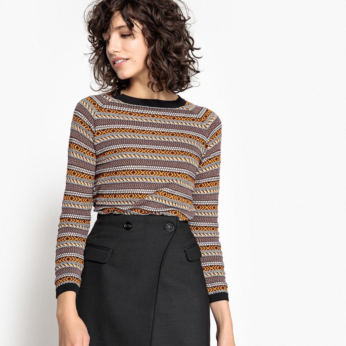 Пуловер с круглым вырезом из жаккардовой ткани ostin юбка из жаккардовой ткани