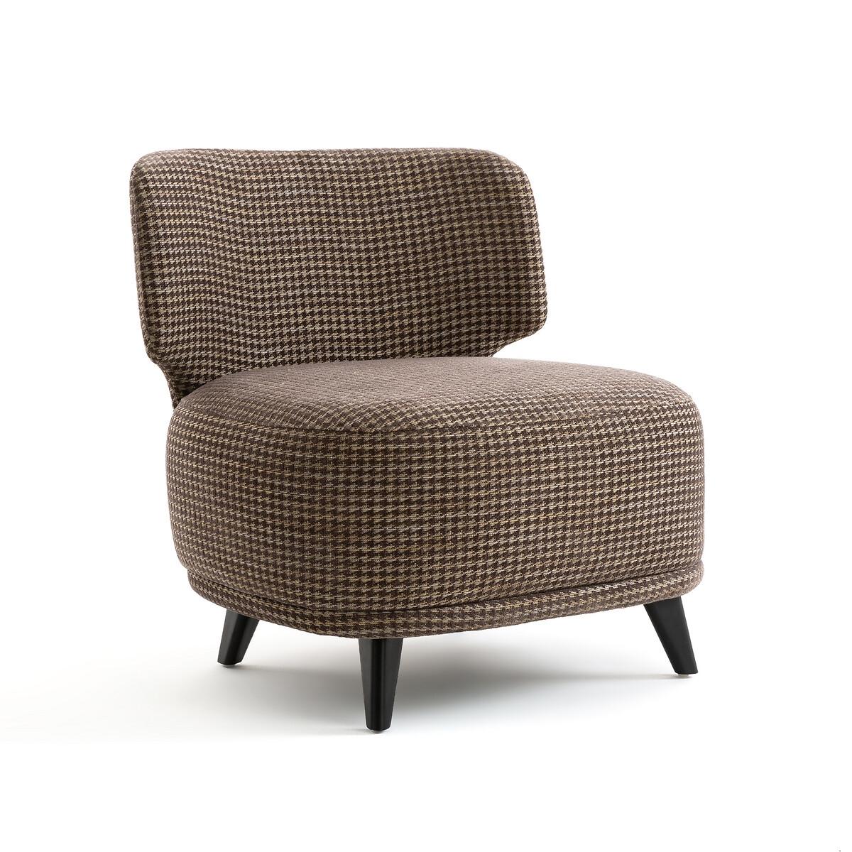 Кресло LaRedoute Каминное с принтом в ломаную клетку размер XL Odalie Э Галлина единый размер серый