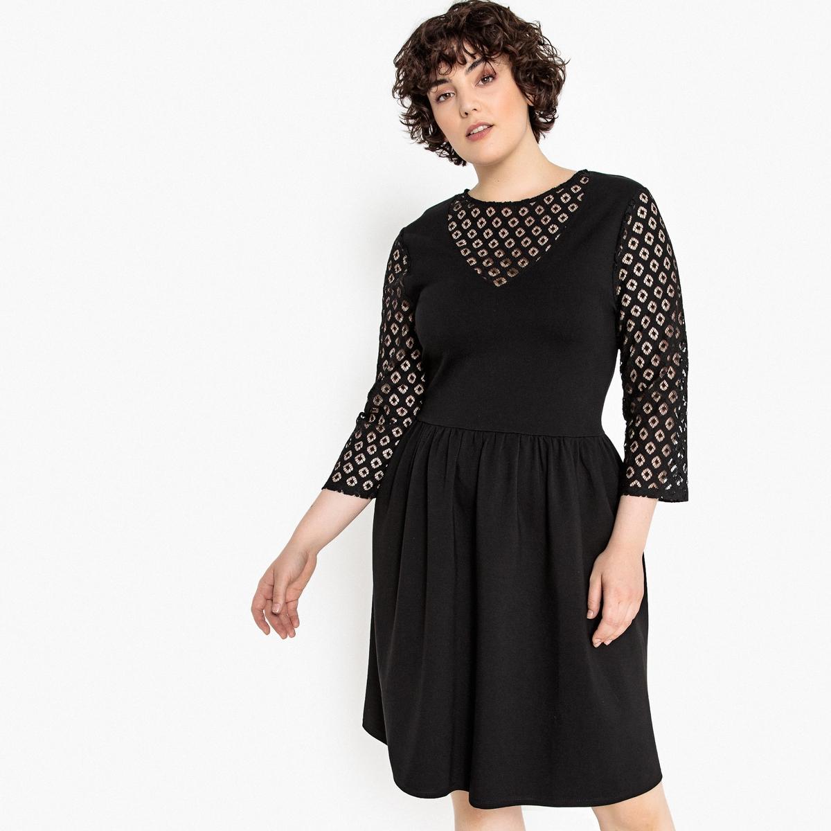 Sukienka rozkloszowana, długość midi, rękaw długi koronkowy