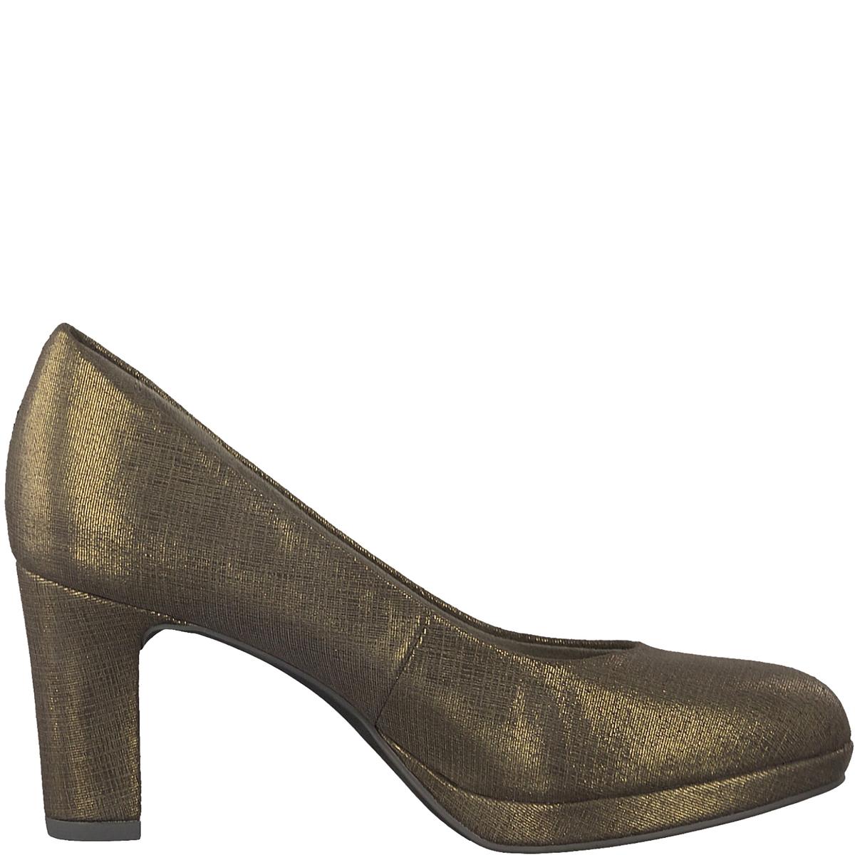 Туфли MauraДетали •  Широкий каблук •  Высота каблука : 7,5 см •  Застежка : без застежки •  Круглый мысокСостав и уход •  Верх 100% текстиль •  Подкладка 50% синтетического материала, 50% текстиля •  Стелька 100% синтетический материал<br><br>Цвет: бронзовый,черный<br>Размер: 36.39.38