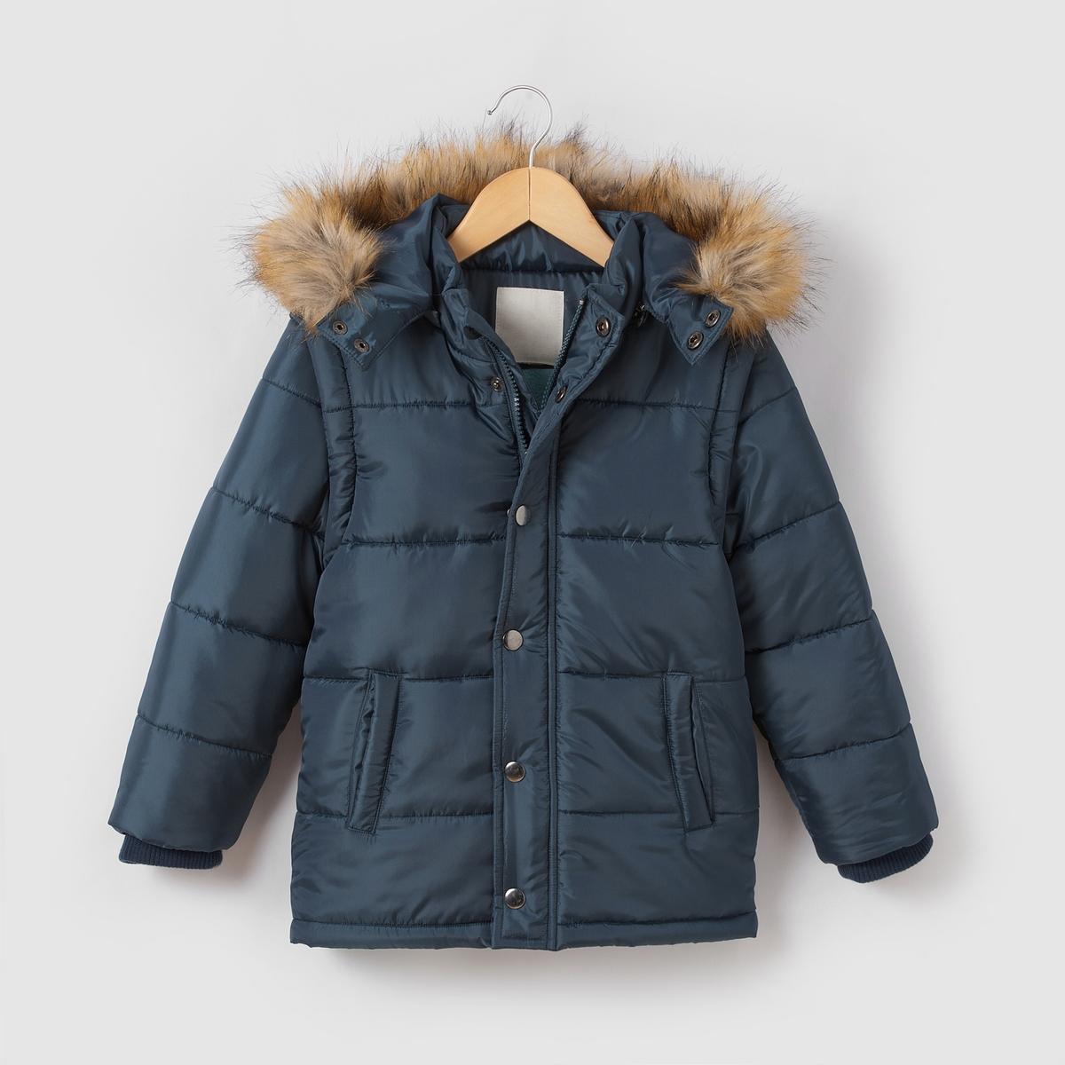 Стеганая куртка со съемными рукавами и  капюшоном 3-12 летСостав и описание : Материал: 100% полиэстера.. Искусственный мех,100% полиэстера      Подкладка    основная часть на флисовой подкладке 100% полиэстера, капюшон и рукава на подкладке 100% полиэстераМарка: R essentiel.Уход :Машинная стирка при 30°C, с одеждой подобных цветов.- Стирать и гладить с изнаночной стороны..- Машинная сушка в умеренном режиме.Гладить при умеренной температуре.<br><br>Цвет: бордовый,синий,черный<br>Размер: 4 года - 102 см.12 лет -150 см.4 года - 102 см.5 лет - 108 см.6 лет - 114 см.8 лет - 126 см.10 лет - 138 см.12 лет -150 см