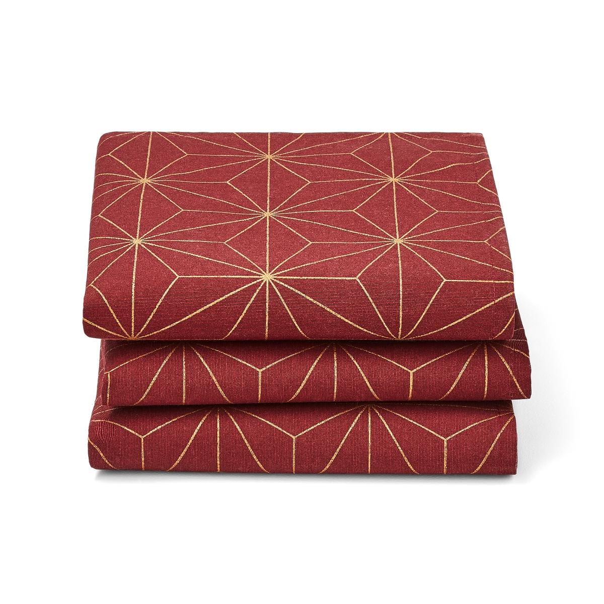 Комплект из 3 салфеток с LaRedoute Рисунком NORDIC STAR 45 x см красный