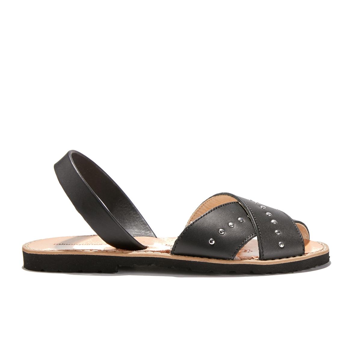 Босоножки из яловичной кожи на плоском каблуке AVARCA ROCK сапоги кожаные на плоском каблуке 1137