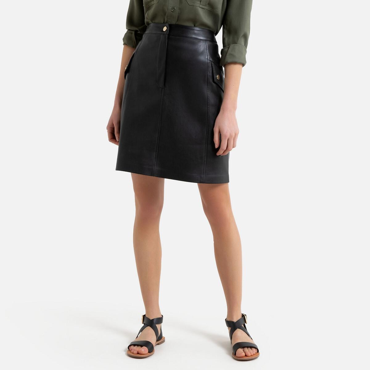 Falda recta de piel sintética