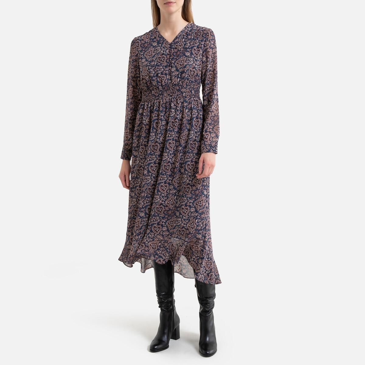 Платье LaRedoute Длинное расклешенное с графическим принтом 0(XS) синий