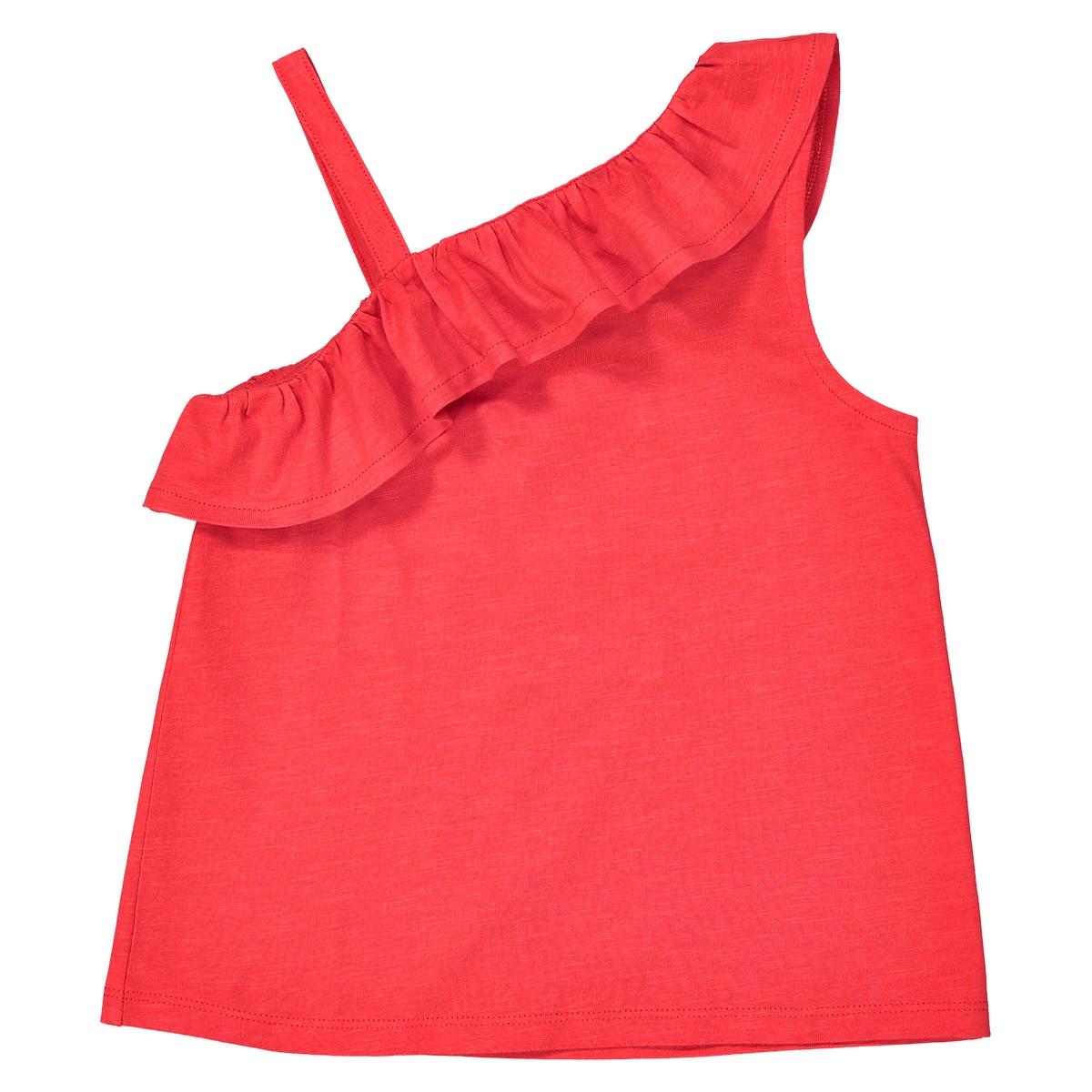 Топ с открытым плечом и воланом 3-12 лет футболка однотонная с открытым плечом