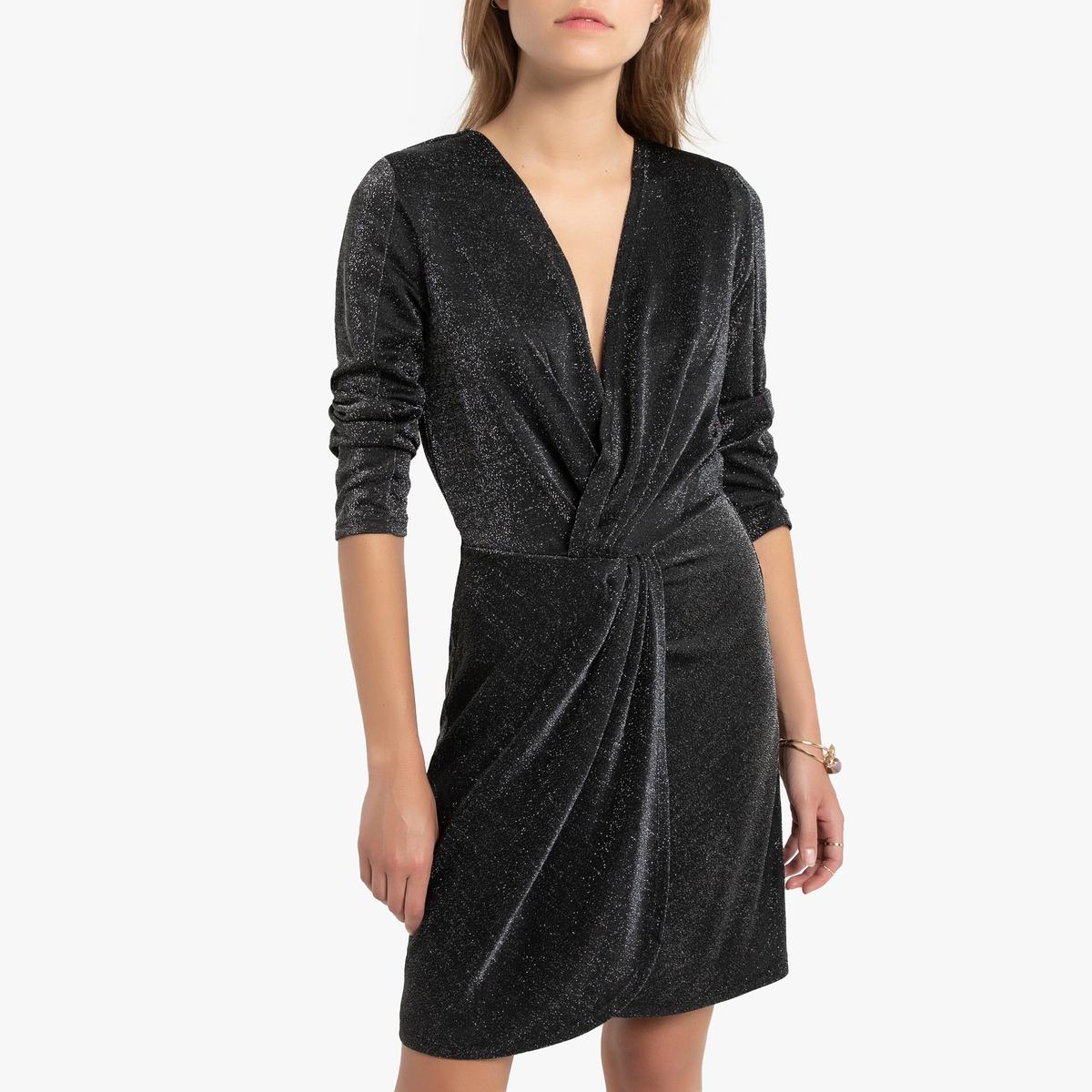 Платье-миди La Redoute С запахом с рукавами и V-образным вырезом S черный свитшот la redoute с круглым вырезом и вышивкой s черный
