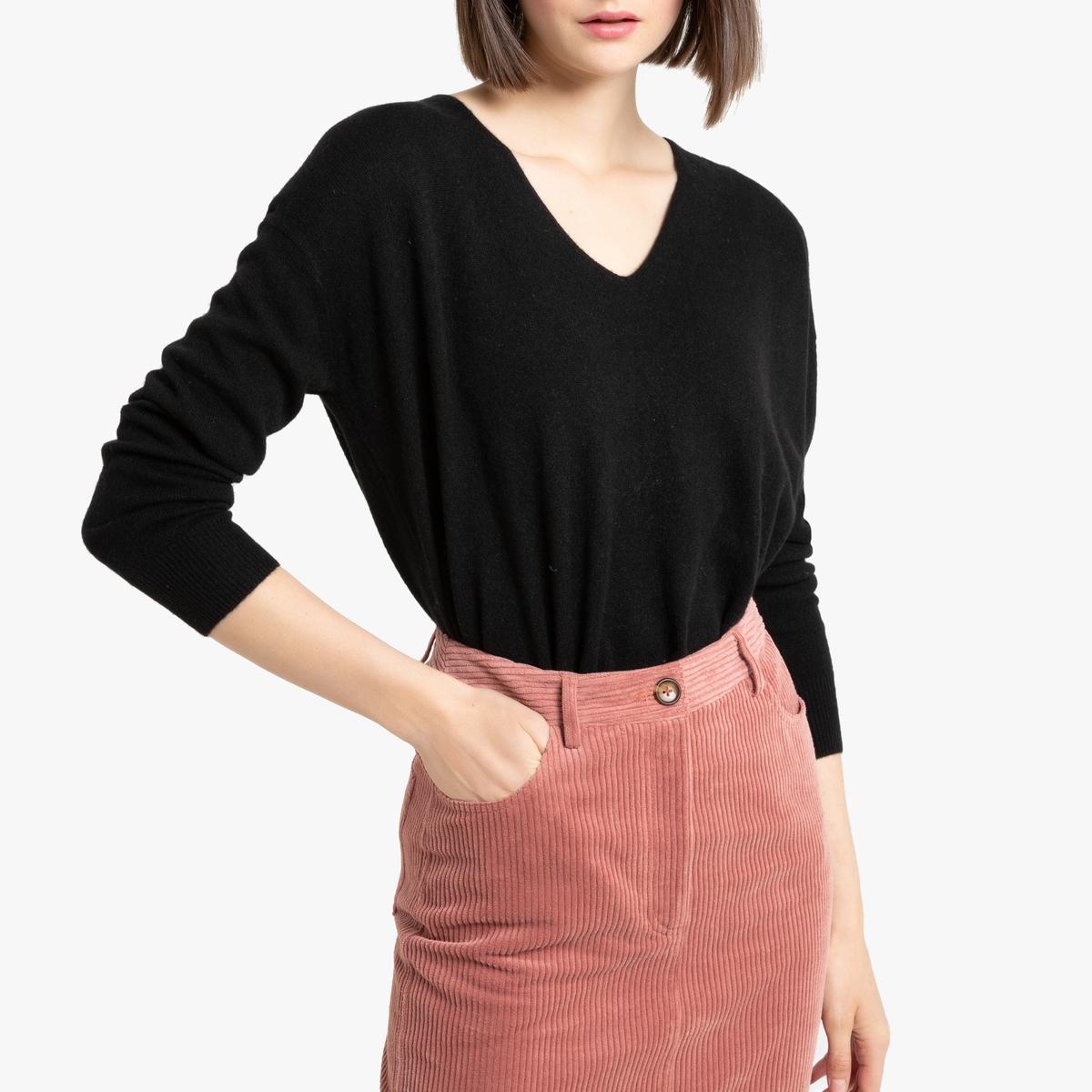 Пуловер La Redoute Из кашемира с V-образным вырезом объемный покрой S черный