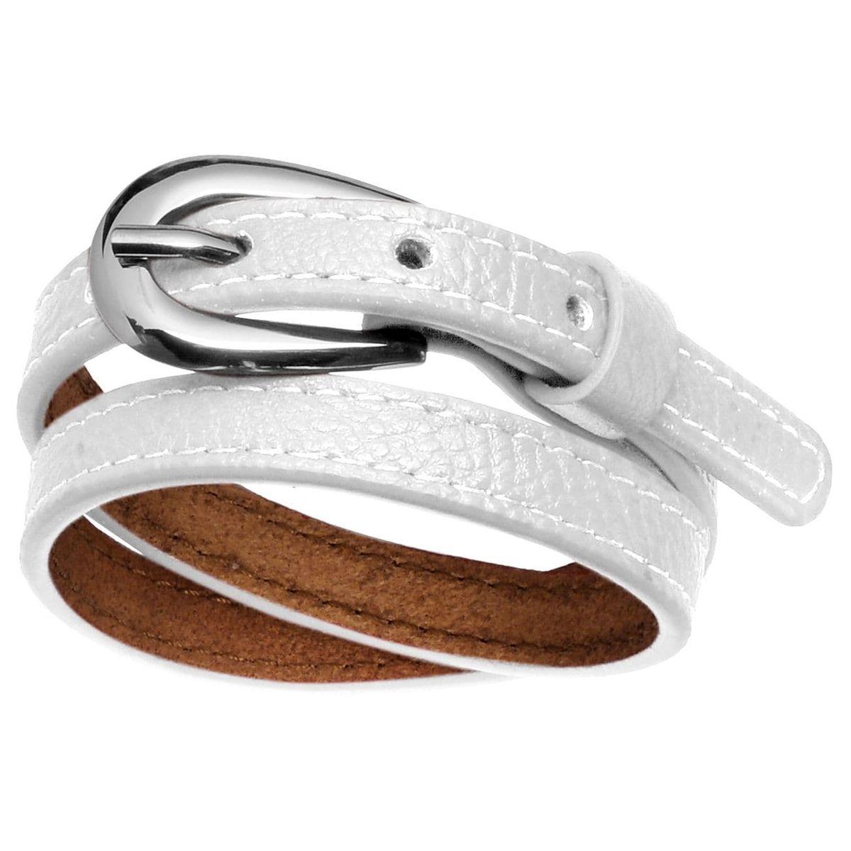 Bracelet 2 Rangs Fermeture Boucle Ceinture Cuir Acier