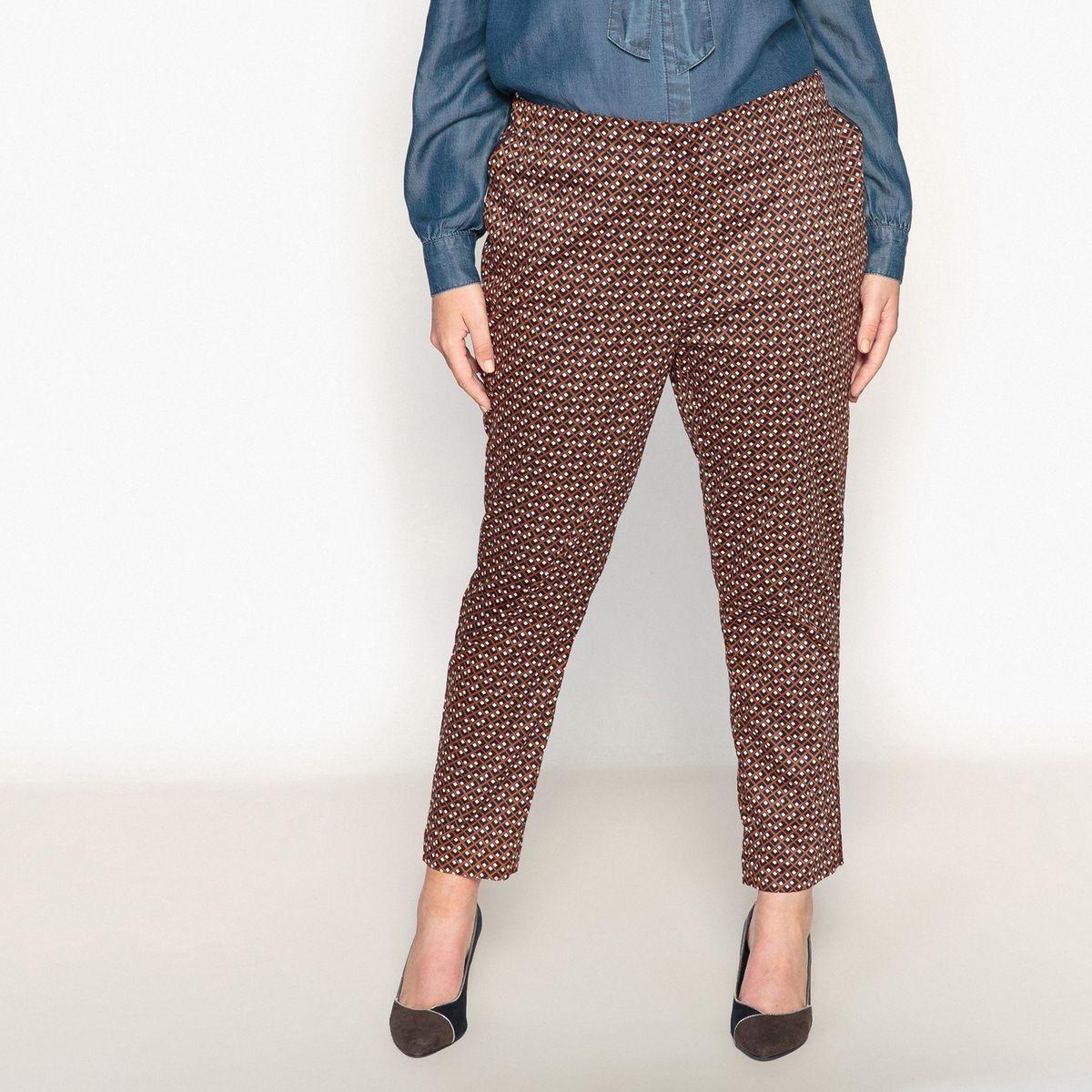 Pantalon cigarette imprimé mini motif géométrique