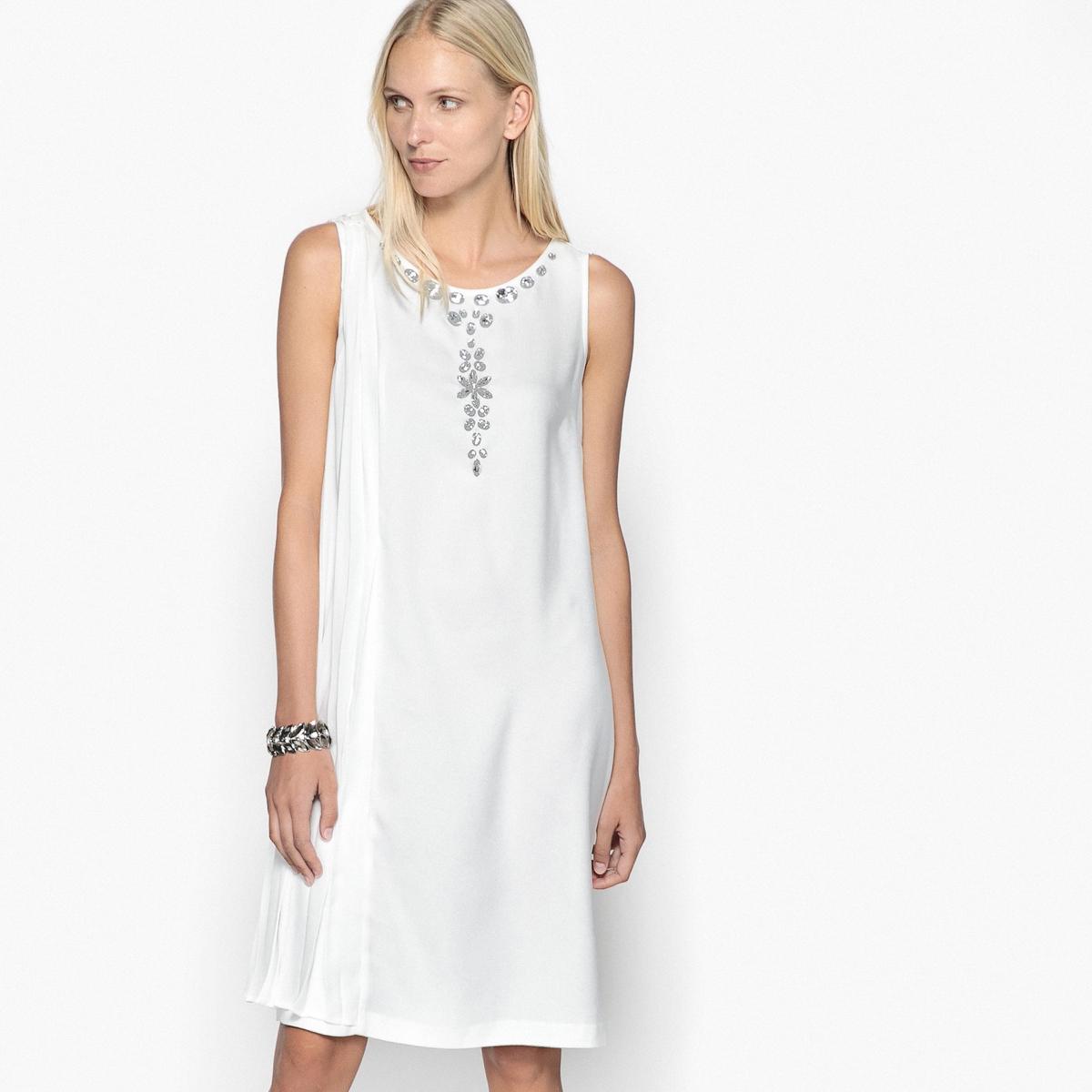 Платье с плиссировкой, без рукавов топ с манишкой и плиссировкой