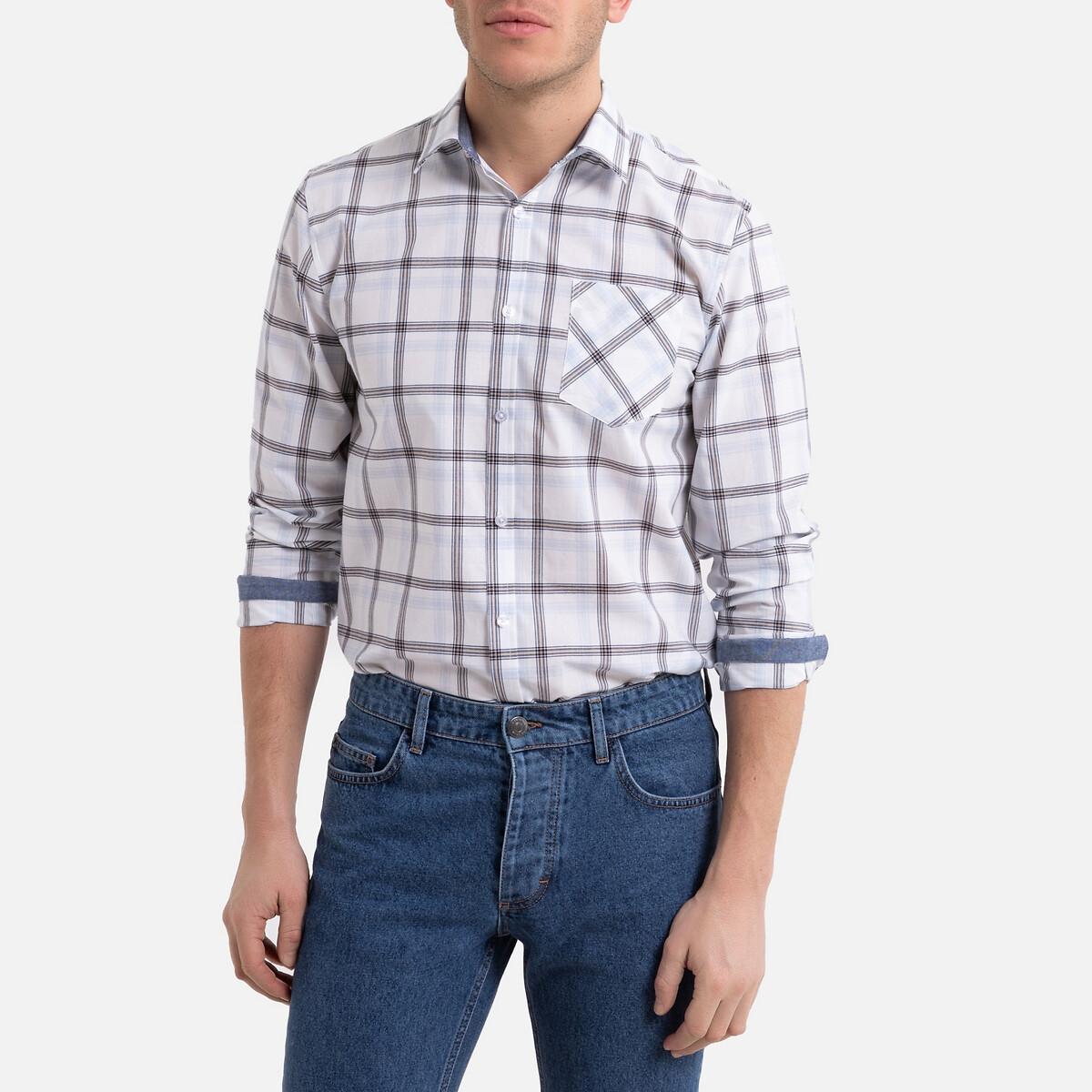 Рубашка La Redoute Зауженная с длинными рукавами принтом в клетку 43/44 белый