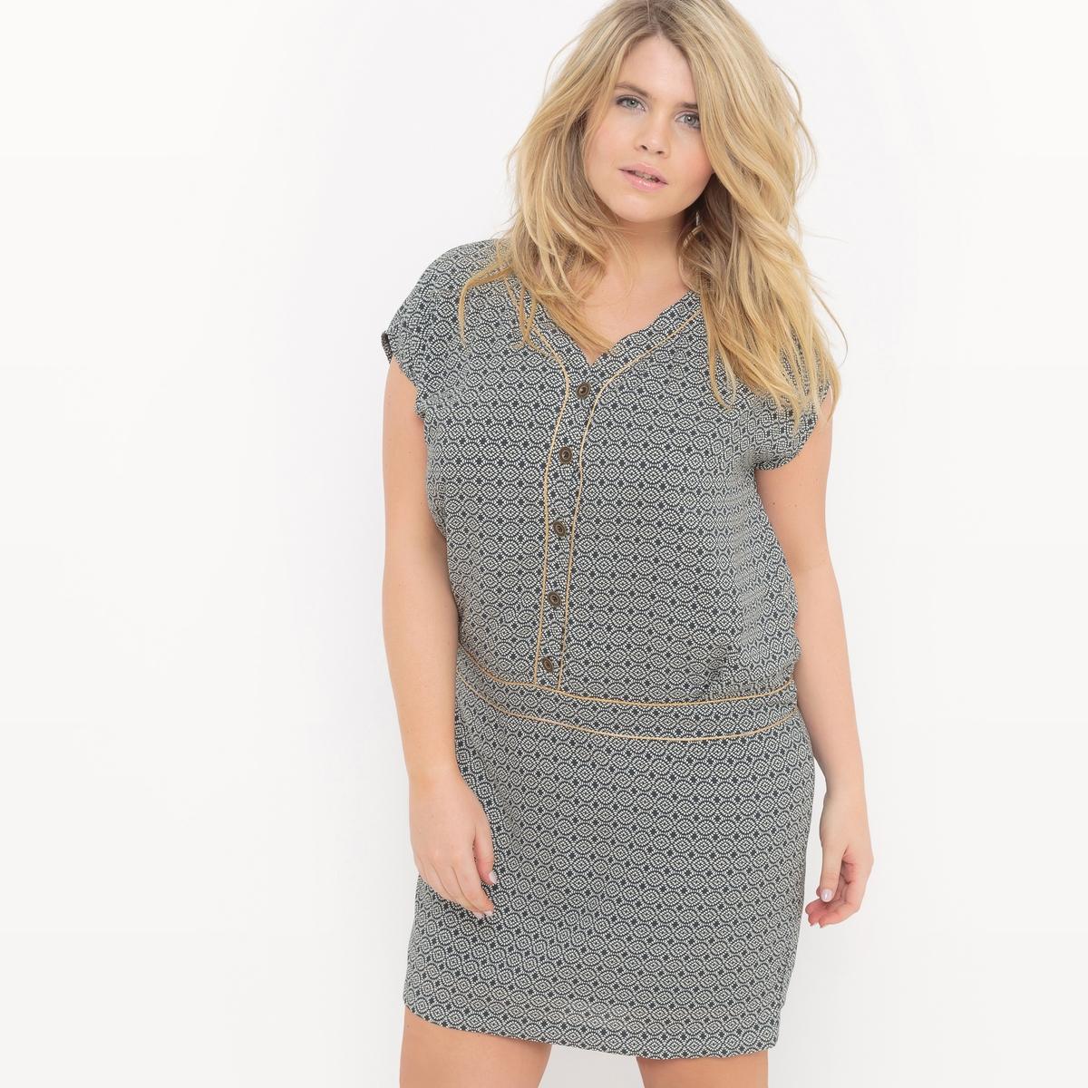 ПлатьеПлатье с короткими рукавами Mellem, V-образный вырез, пуговицы золотистого цвета. Из вискозина с этническим рисунком. На подкладке из вискозы. Платье прямого покроя   . 100% вискоза<br><br>Цвет: хаки/ белый<br>Размер: 46 (FR) - 52 (RUS)