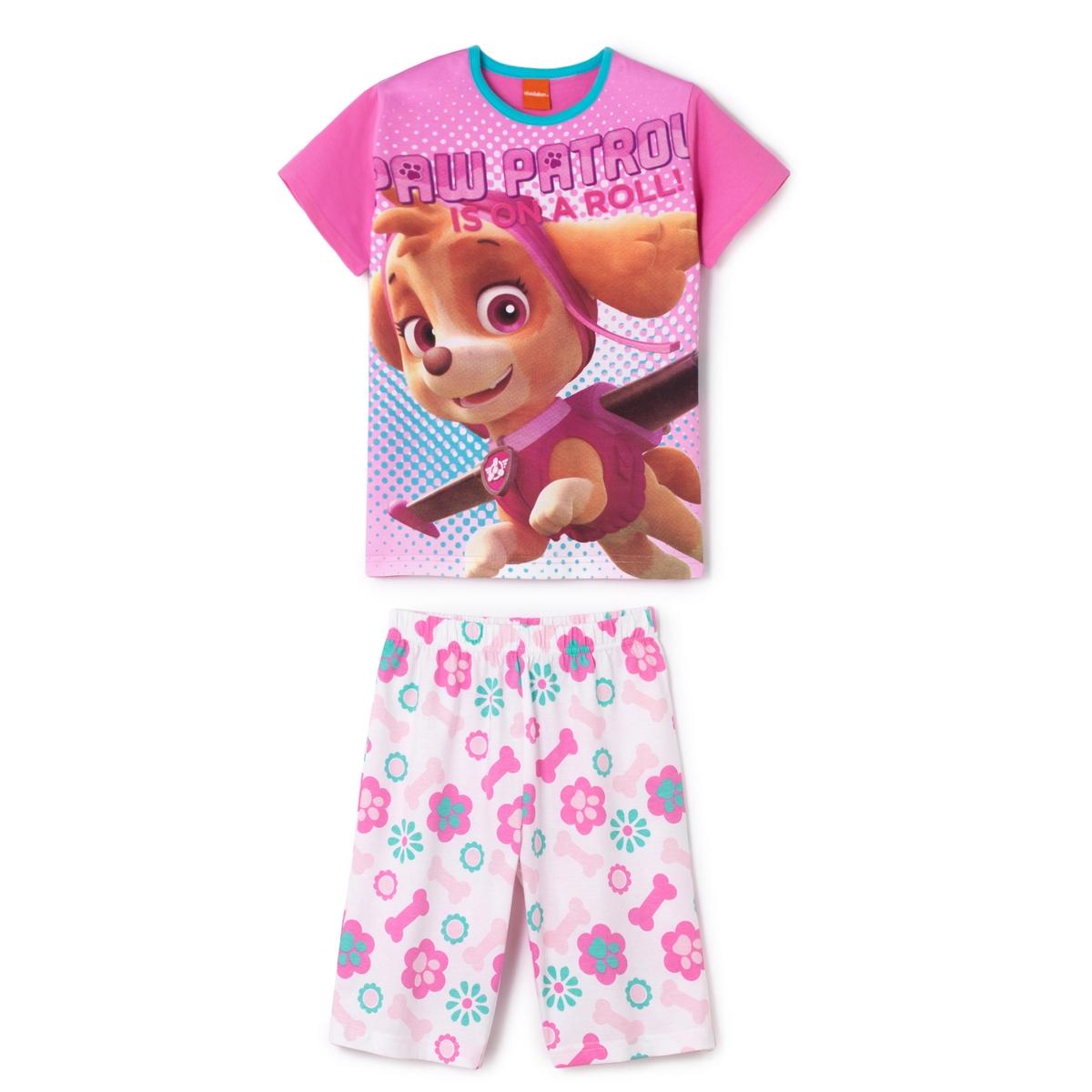 Пижама с шортами с рисунком для девочек, 2-8 лет