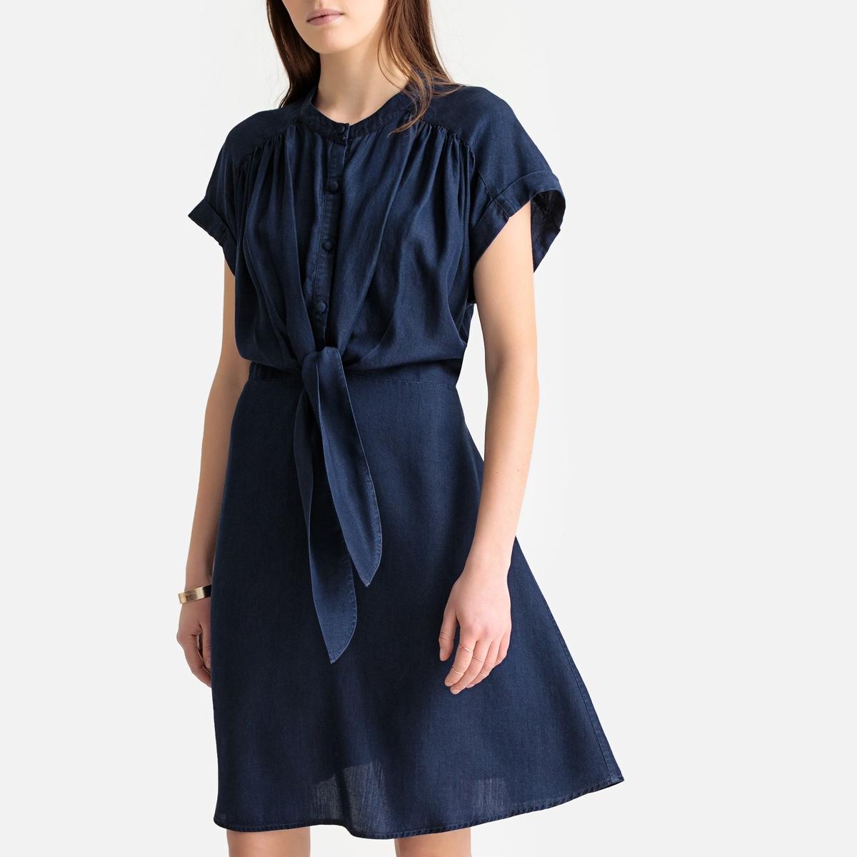 цена Платье La Redoute Расклешенное с короткими рукавами из тонкого денима 36 (FR) - 42 (RUS) синий онлайн в 2017 году