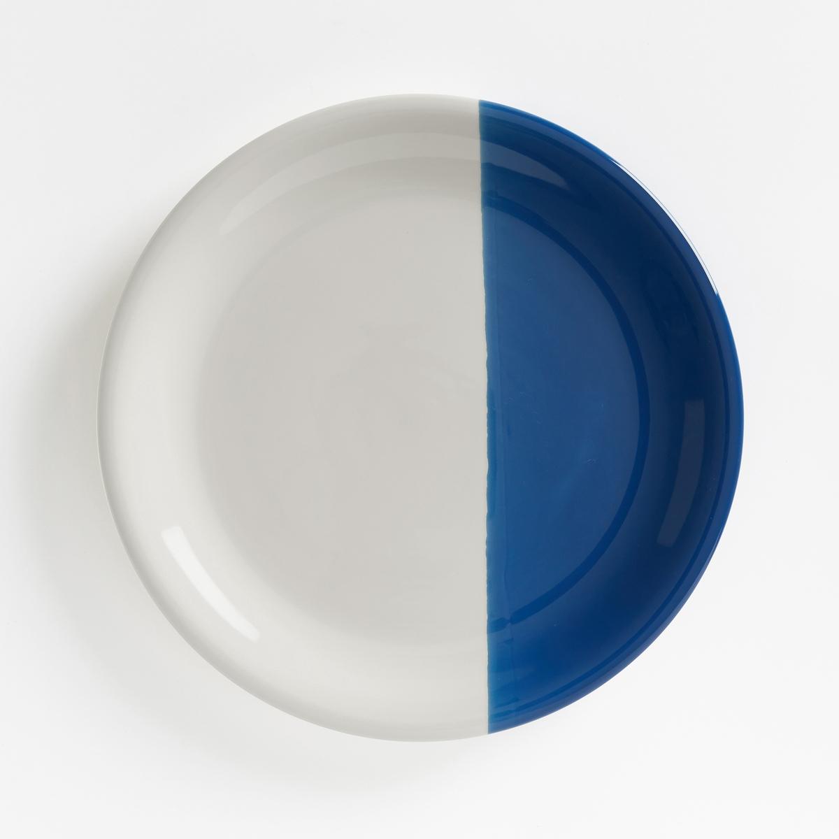Комплект из 4 мелких тарелок из фаянса ZALATOОписание:Оригинальные двухцветные мелкие тарелки из фаянса. Каждая тарелка разделена пополам с помощью цвета.Характеристики мелких тарелок ZALATO :Комплект из 4 двухцветных тарелок из фаянса.Размеры мелких тарелок ZALATO :Диаметр : 27,2 смУход :Подходят для мытья в посудомоечной машине и использования в микроволновой печи<br><br>Цвет: белый/ зеленый,белый/ синий<br>Размер: единый размер
