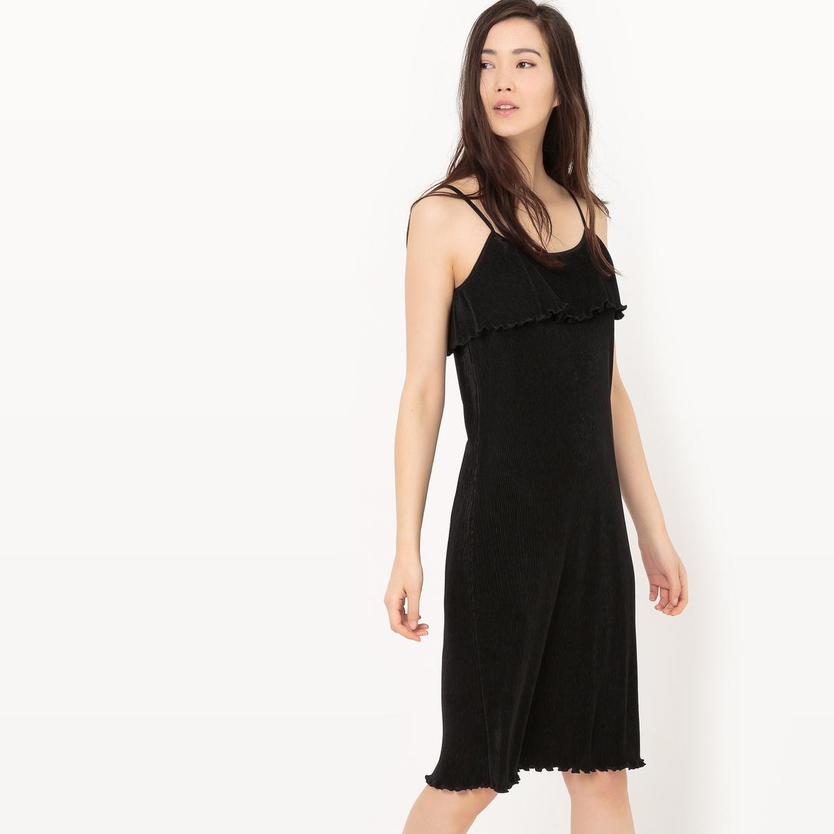 Платье плиссированное с тонкими бретелями