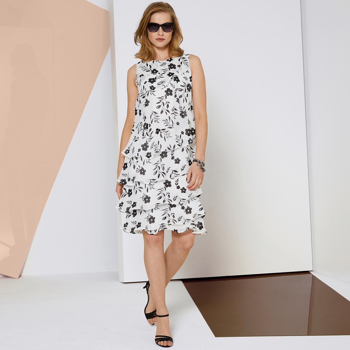Imagen principal de producto de Vestido de crepé vaporoso, estampado y con volante - Anne weyburn