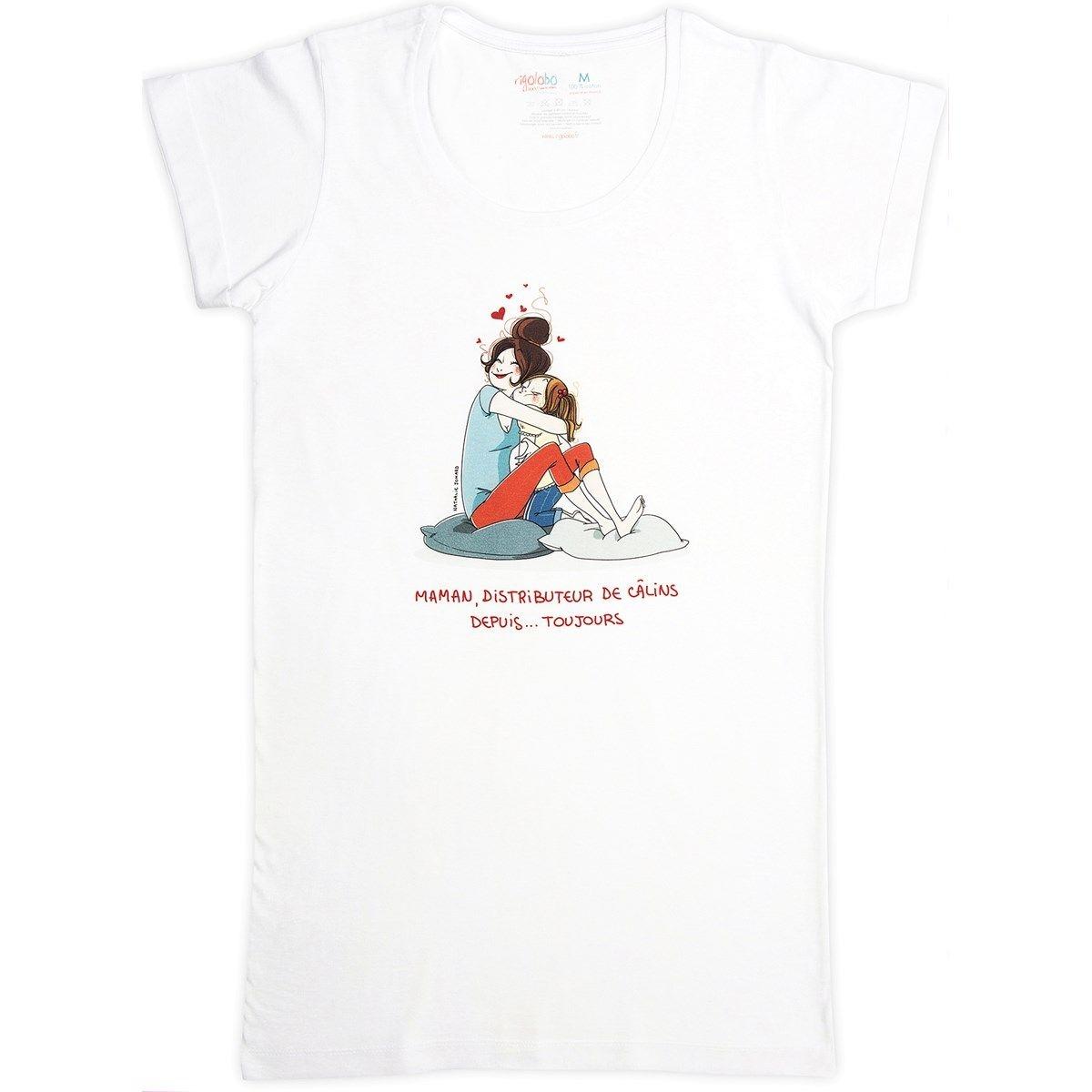 T-shirt femme long blanc en coton Maman distributeur de câlins