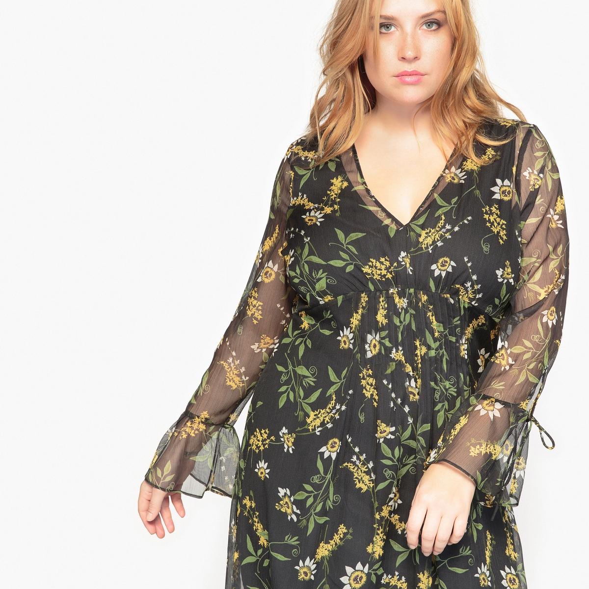 Платье длинное с цветочным рисунком и длинными рукавами