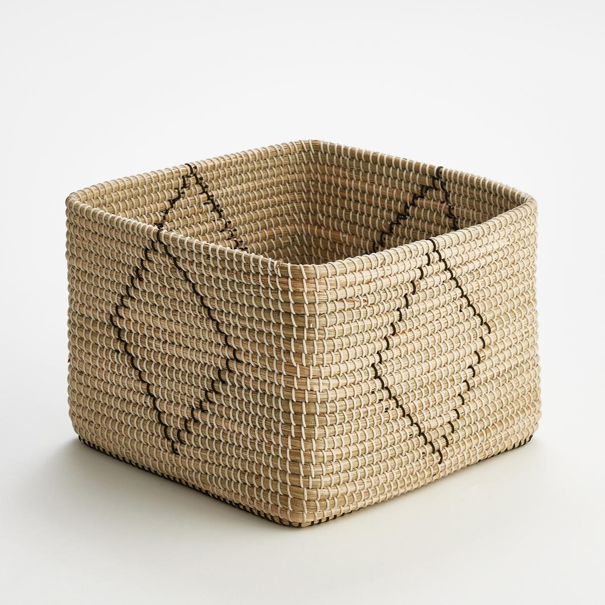 Корзина плетеная квадратная GuillermoХарактеристики : - Плетеная корзина из рисовой соломки.Размеры  :- Д35 x В25 x Г35 см<br><br>Цвет: черный/ экрю