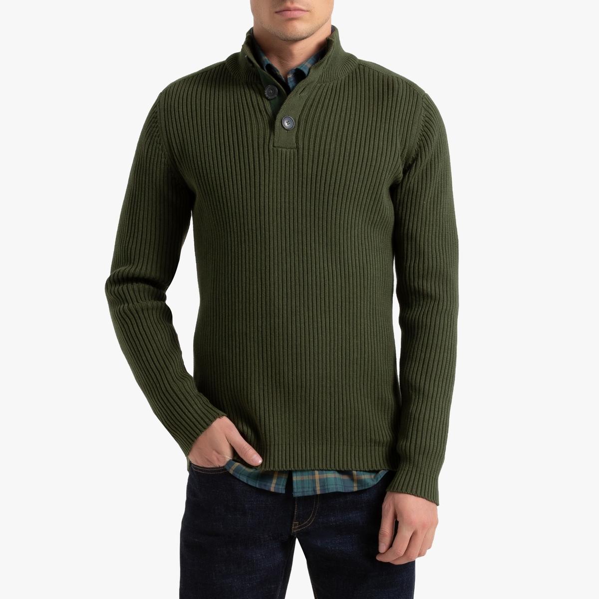 Пуловер La Redoute С воротником-стойкой из тонкого трикотажа XXL зеленый цена и фото
