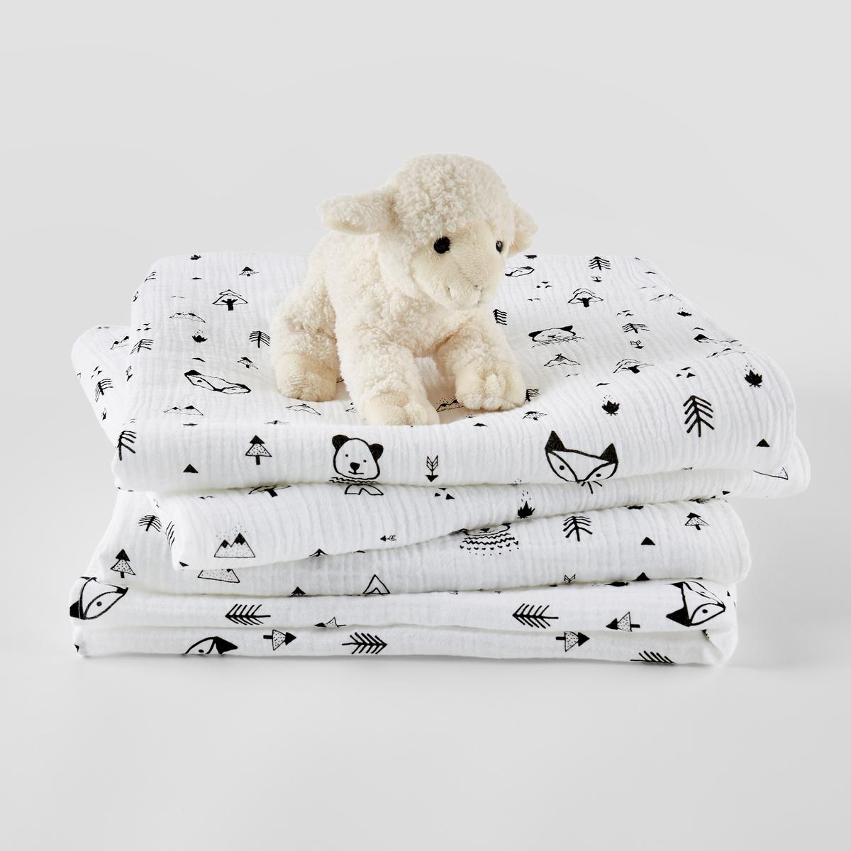 цена Комплект из пеленок детских La Redoute Из хлопчатобумажной газовой ткани Forest camp единый размер белый онлайн в 2017 году