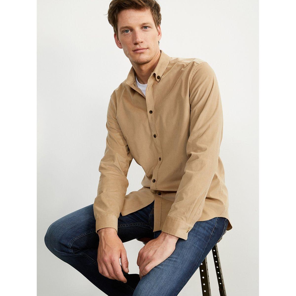 Chemise droite homme en velours milleraies